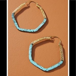 Anthropologie Lena Bernard Turquoise & Gold Hoops